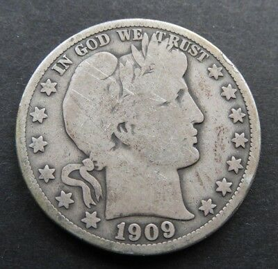 1909 P VG Very Good Barber Half Dollar US Coins Silver BHD33