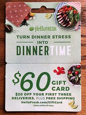 Hello Fresh $60 Gift Card - $20 off your first 3 deliveries + no cost shipping