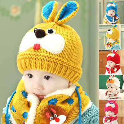 2Pcs Baby Hat Scarf Toddler Boys Girls Beanie Knitted Bunny ears Rabbit Winter