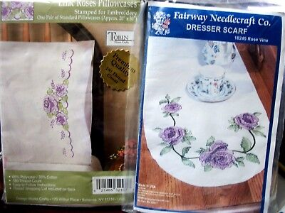 "2 kits Tobin/ Fairway ""LILAC ROSES"" Stamped Xstitch Crewel Pillowcases & Scarf"