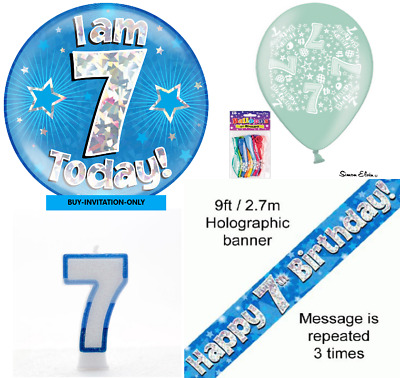 BOYS 7TH BIRTHDAY Party Pack Giant Badge Banner Balloons Candle Blue