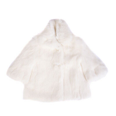MICROBE Rabbit Fur Coat Size 6M / 62-68 CM Ivory Button Front Collared