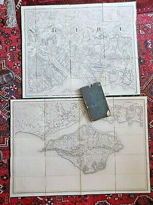 Early First Series Pair Maps x2 Hampshire Isle of Wight IOW OS Slipcase Mudge