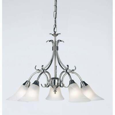 Ornate 5 Light Dimmable Pendant Chandelier Ceiling Fitting in Antique Silver