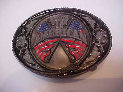 """Vintage 1991 """"Proud To Be An American"""" Belt Buckle by Siskiyou Buckle Co."""