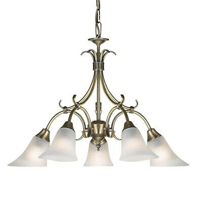 Ornate 5 Light Dimmable Pendant Chandelier Ceiling Fitting in Antique Brass