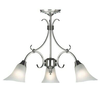 Ornate 3 Light Dimmable Pendant Chandelier Ceiling Fitting in Antique Silver