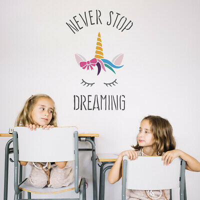Never Stop Dreaming Unicorn Stencil - Large Unicorn Quote Wall Art Template