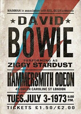 Reproduction David Bowie Hammersmith Odeon Poster, Home Wall Art, Vintage Print