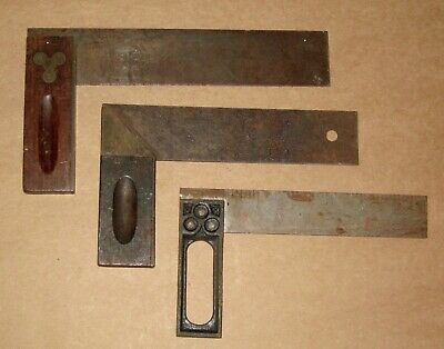 Vintage Antique Tool Carpenters Square Lot Wood Brass Cast Iron Henry Disston