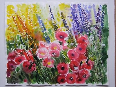 Original Watercolor Painting Red Poppies Flowers Art By Artist