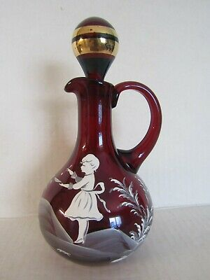 Antique Red Mary Gregory Glass Cruet