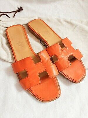 3f72aac75b10 Authentic Hermes Womens Oran Leather Sandals Orange Size 39 W Dustbag