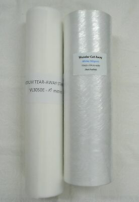 1 Each Roll Medium Cut-Away 10m + Tear-Away 10m Embroidery Stabiliser 30cm Wide