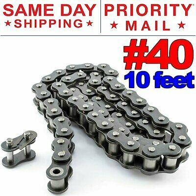 #40 Roller Chain x 10 feet + Free Connecting Links + Same Day Expedited Shipping
