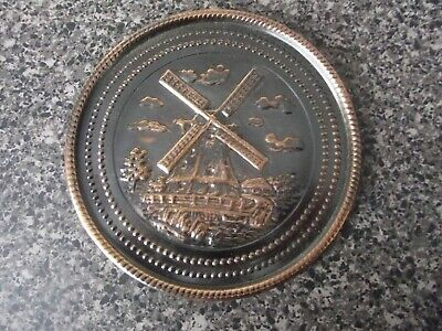 vintage copper Wall Plate windmill rose made in holland free post