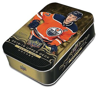 2018-19 Upper Deck Series 1 hockey cards Sealed Tin 12 Packs Plus Oversized Card
