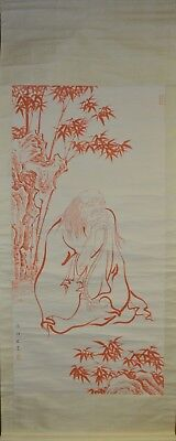 Vintage Chinese Watercolor BUDDHIST FIGURE Wall Hanging Scroll Painting