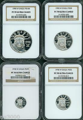 1998-W Proof Platinum Eagle Statue Liberty Ngc Pr70 Pf70 4Coin Set $100 50 25 10