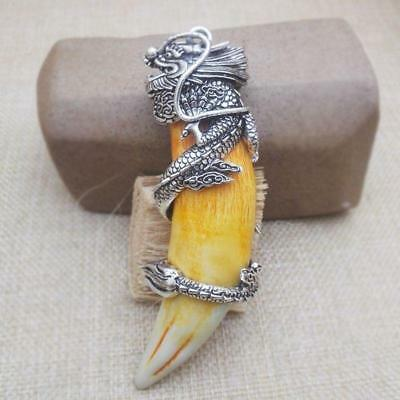 Chinese Antique Boars Tooth Wild Hog Silver Dragon protective talisman Pendant D