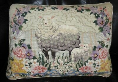 Vintage Antique Embroidered Wool NeedlePoint Scenic Pillow Velvet Backed Sheep