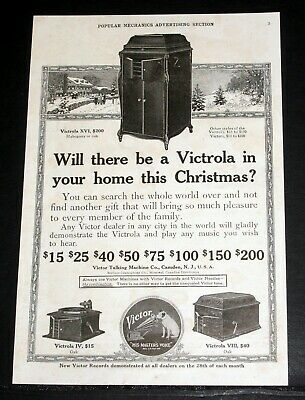 1914 Old Magazine Print Ad, Will There Be A Victrola In Your Home For Christmas?