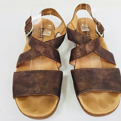 9eedcaa0287e Born Sandals 10M Metallic Gold Bronze Womens Leather Buckle Criss Cross  Straps