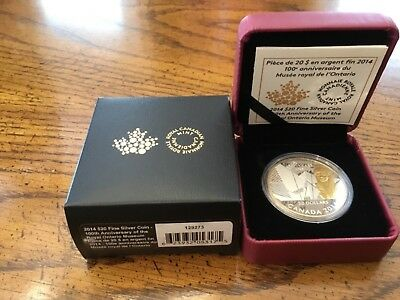 Canada 2014 100th Anniversary Royal Ontario Museum 1 Oz Pure Silver $20 Proof