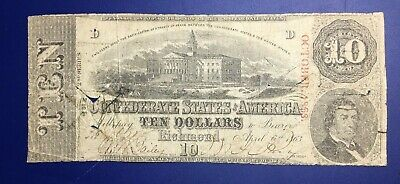 1864 Confederate States of America $10 Ten Dollar Bill Currency Note - PMG 35 VF