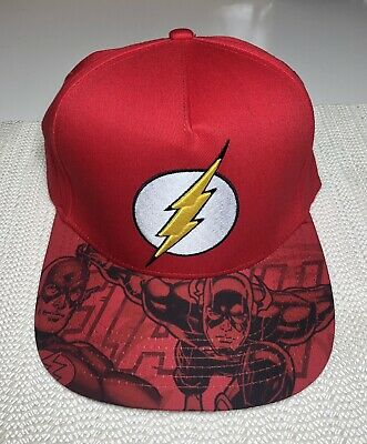 """0d0ec7042862e9 """"Brand New"""" Official DC COMICS red The Flash Sublimation Snapback Hat. """""""