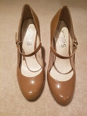 9e39ff8ad1c Michael Kors Patent Leather MARY JANE Brown Rounded Toe Pumps Size 9M