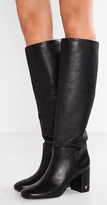 9f744496f $498 size 7 Tory Burch Brooke Slouchy Black Leather Boots Heels Womens Shoes