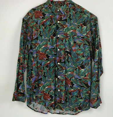 Vintage Guess by Georges Marciano Shirt Men's Large Button Long Sleeve Floral
