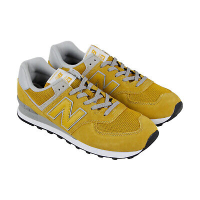 c237889a43d5 New Balance Classics Mens Yellow Mesh   Suede Athletic Training Shoes 9