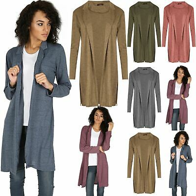 New Womens Knitted Collared Long Blazer Ladies Longline Duster Coat Cardigan Top