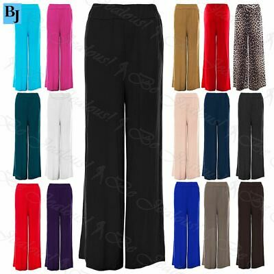 New Womens Ladies Stretchy Baggy Wide Leg Trousers Pants Flared Palazzo Leggings