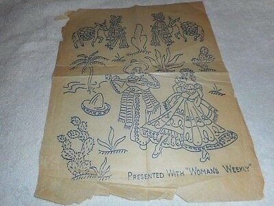 Vintage Embroidery Iron on Transfer - Woman's Weekly - Mexican Dancers / Donkey