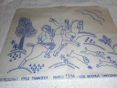 Vintage Embroidery Iron on Transfer - Jacobean Style Horses / Dogs / Tree