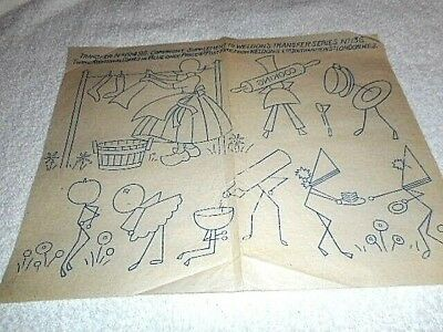 Vintage Embroidery Iron on Transfer - Weldons No.19492 - Wash Day / Cooking