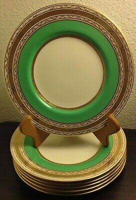 Antique Tiffany & Co. Minton 6 Gold Encrusted Salad Plates Used