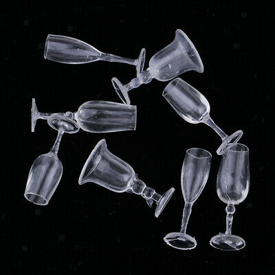 1/12 Dolls House Miniature Tableware Cup Wine Glass Juice Glass Goblet 8pcs