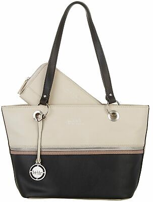 525a56bbe5920 Nicole Miller New York Tri-Tone Olive Tote Handbag One Size Black beige