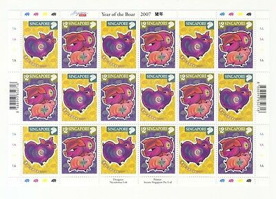 Singapore 2007 Zodiac 1St Series Year Of Pig Boar Full Sheet Of 18 Stamps Mint