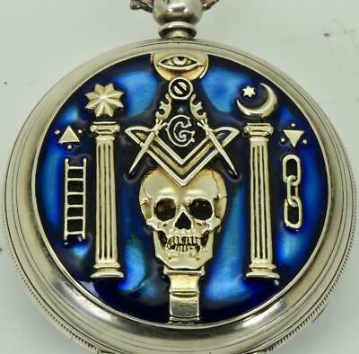 Antique Georgian silver&enamel Masonic/Memento Mori Skull pocket watch.T.Jherwin