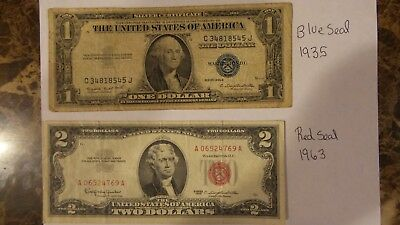 1935-G $1 ONE DOLLAR BLUE SEAL note $2 red seal note (lot)