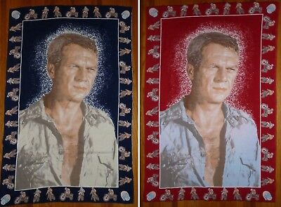 VTG Steve McQueen Tapestry Hanging Wall Art 33 x 50 ATC NYC Red or Blue MAN CAVE