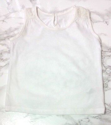 bc1f0f4b MATALAN GIRLS T-Shirt VEST TOP Age 3-4 Years White Lace - EXCELLENT