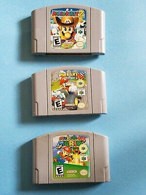 Mario Kart Nintendo 64 Mario Party 2 Super Mario 64 N64 Video Game Cartridge lot