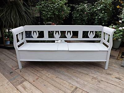 Old Antique/reclaimed Pine Painted Grey Storage Box Bench/settle. We Deliver!
