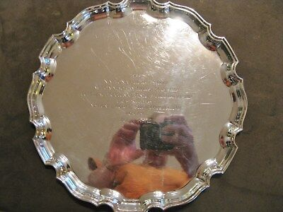 """Lionel Alfred Crichton Sterling Silver London English Salver C1929 12"""" 30.65 TO"""